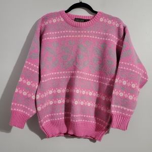 Vintage Pink and Gray Winter Sweater Size M